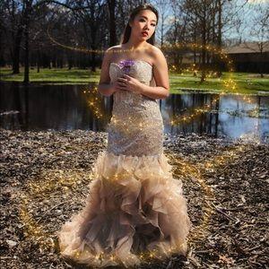 Creamy Nude Mermaid Prom Dress